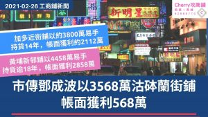 工商鋪 20210226新聞:市傳鄧成波以3568萬沽砵蘭街鋪,帳面獲利568萬
