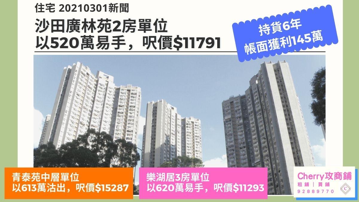住宅 20210301新聞:廣林苑2房單位以520萬易手,帳面獲利145萬