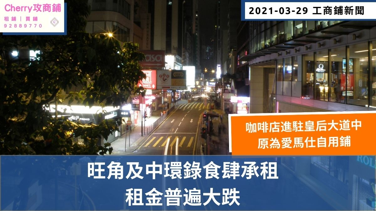 工商舖 新聞:旺角及中環錄食肆承租,租金普遍大跌