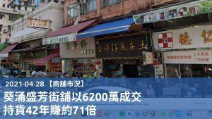 【商舖市況】葵涌盛芳街舖以6200萬成交,持貨42年賺約71倍